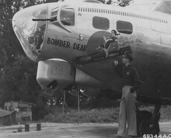Good view of nose art on B-17  B17 Bomber Nose Art